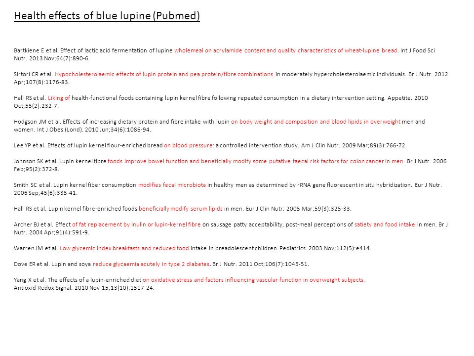 Health effects of blue lupine (Pubmed) Bartkiene E et al.