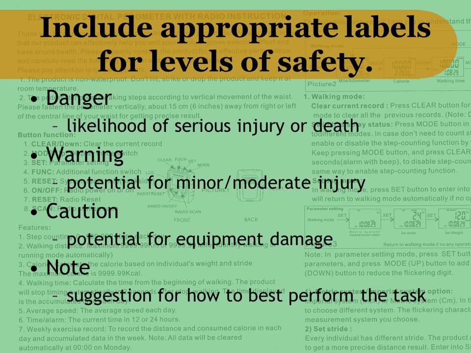 Include appropriate labels for levels of safety.