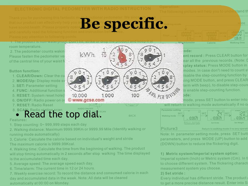 Be specific. Read the top dial.