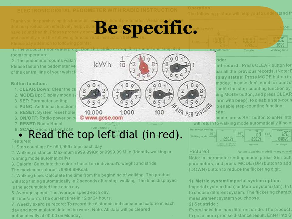 Be specific. Read the top left dial (in red).