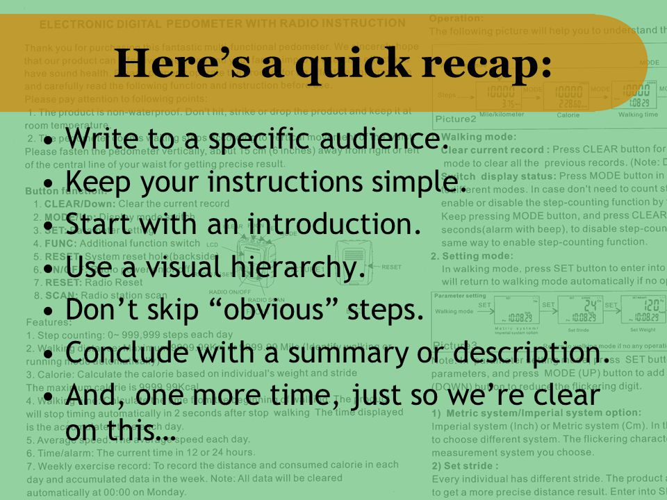 """Here's a quick recap: Write to a specific audience. Keep your instructions simple. Start with an introduction. Use a visual hierarchy. Don't skip """"obv"""