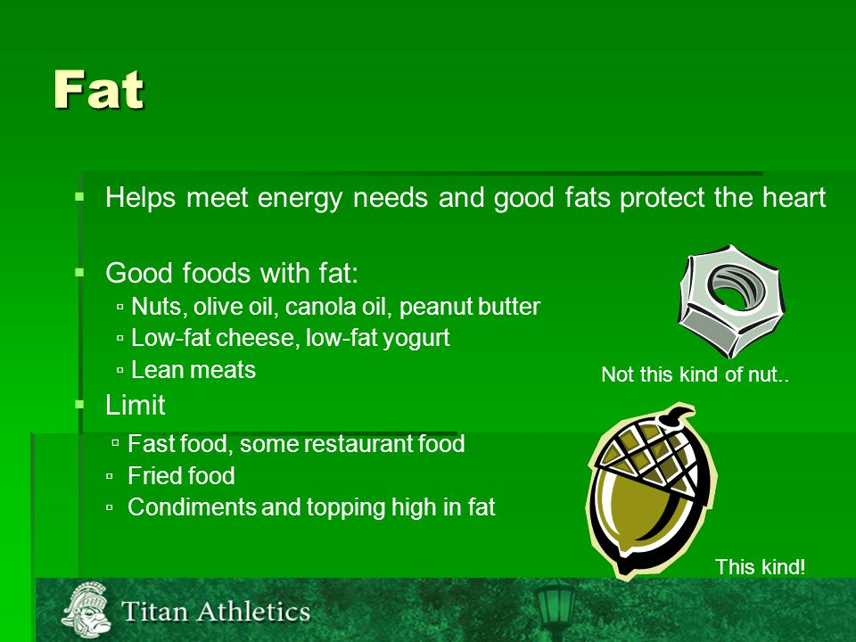 Fat   Helps meet energy needs and good fats protect the heart   Good foods with fat: ▫ Nuts, olive oil, canola oil, peanut butter ▫ Low-fat cheese, low-fat yogurt ▫ Lean meats   Limit ▫ Fast food, some restaurant food ▫ Fried food ▫ Condiments and topping high in fat Not this kind of nut..