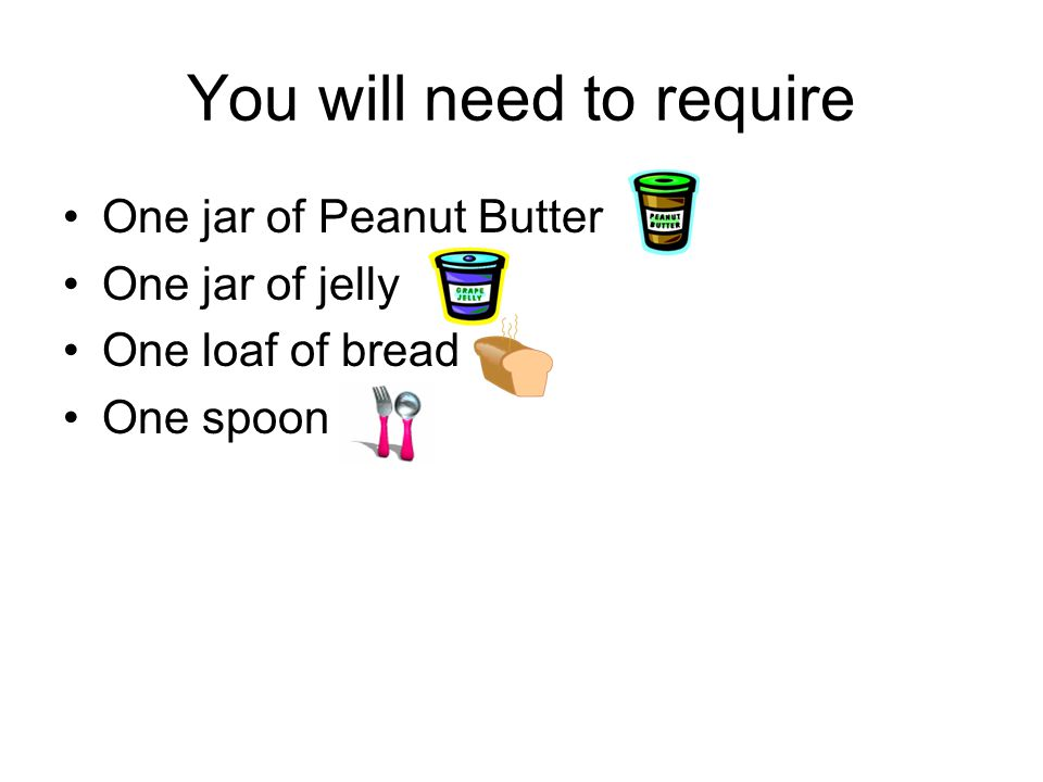 Preparing a Peanut Butter and Jelly sandwich Step 1, open the loaf of bread and, remove two slices of bread.