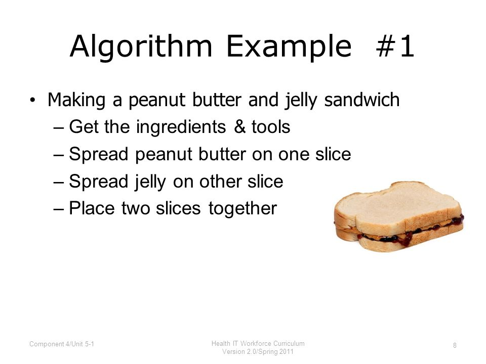 Algorithm Example #2 Making a peanut butter and jelly sandwich –Get the ingredients & tools Two slices of bread Peanut Butter Jelly Knife –Spread peanut butter on one slice Dip knife into peanut butter Remove knife, collecting peanut butter Place knife peanut butter side down on bread Swirl knife to spread peanut butter –Spread jelly on other slice –Place two slices together 9 Component 4/Unit 5-1 Health IT Workforce Curriculum Version 2.0/Spring 2011