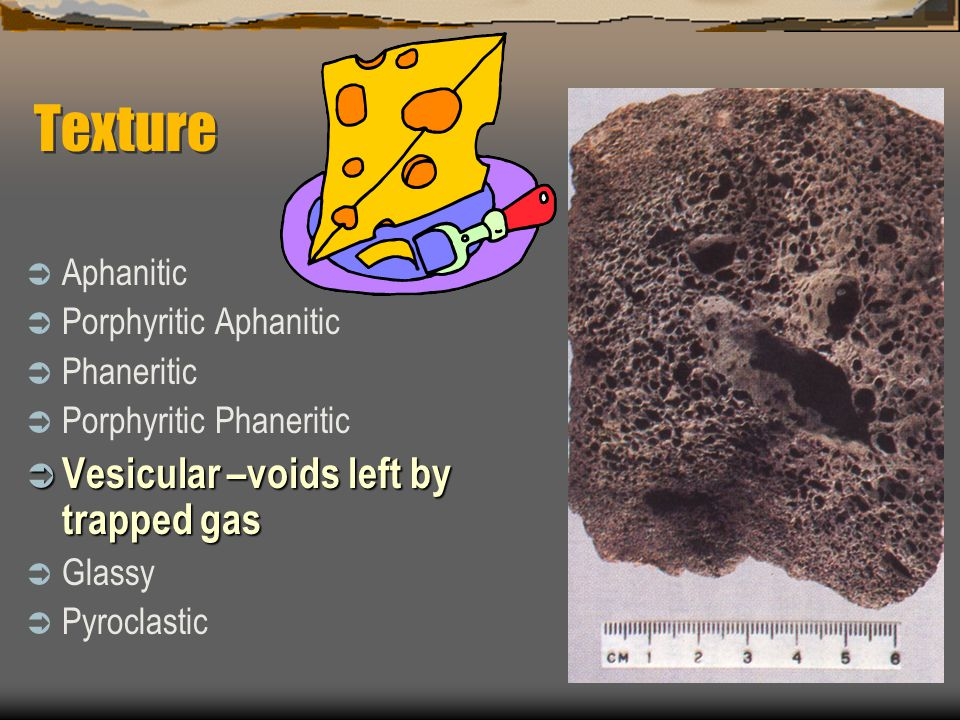Texture  Aphanitic  Porphyritic Aphanitic  Phaneritic  Porphyritic Phaneritic  Vesicular –voids left by trapped gas  Glassy  Pyroclastic