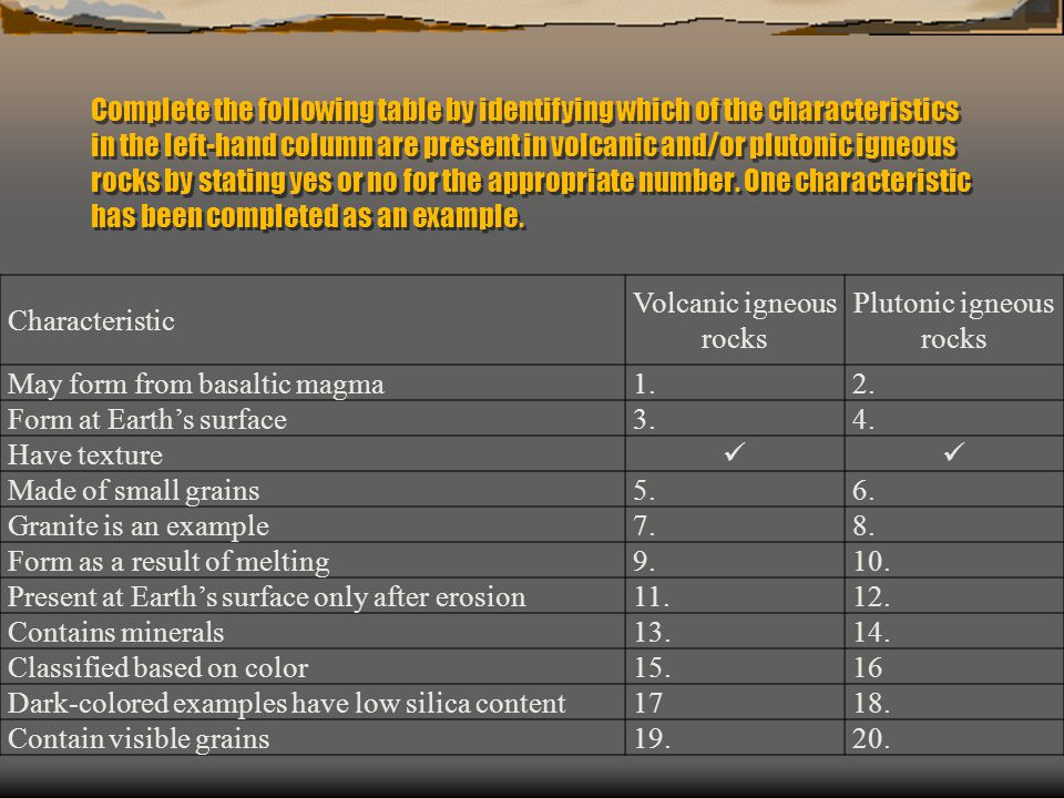 Complete the following table by identifying which of the characteristics in the left-hand column are present in volcanic and/or plutonic igneous rocks