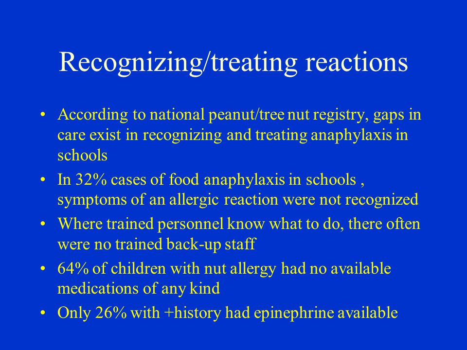 Recognizing/treating reactions According to national peanut/tree nut registry, gaps in care exist in recognizing and treating anaphylaxis in schools I
