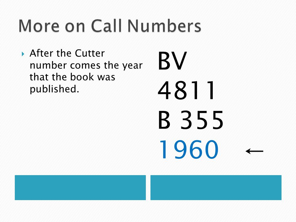  After the Cutter number comes the year that the book was published. BV 4811 B 355 1960 ←