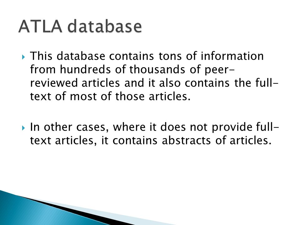  This database contains tons of information from hundreds of thousands of peer- reviewed articles and it also contains the full- text of most of those articles.