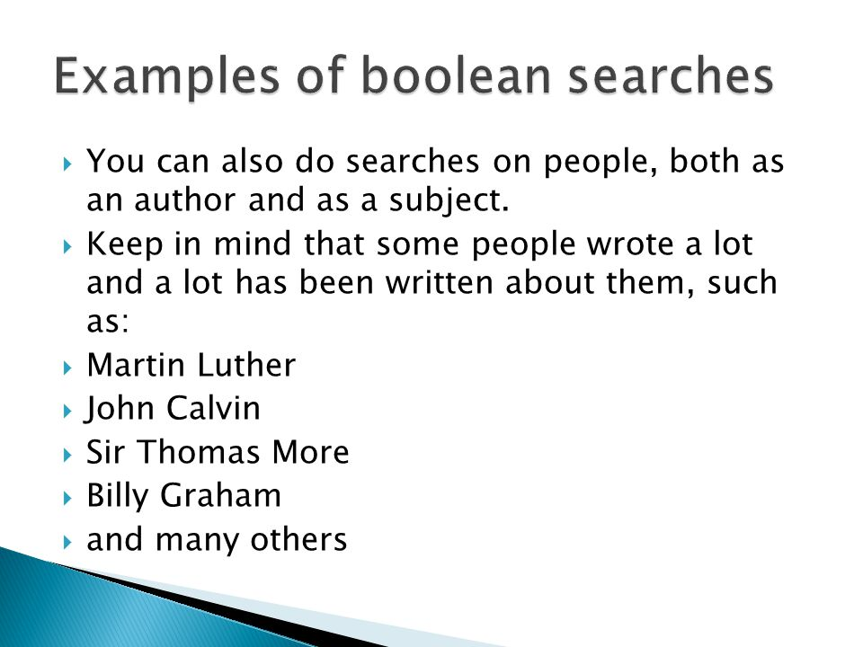  You can also do searches on people, both as an author and as a subject.