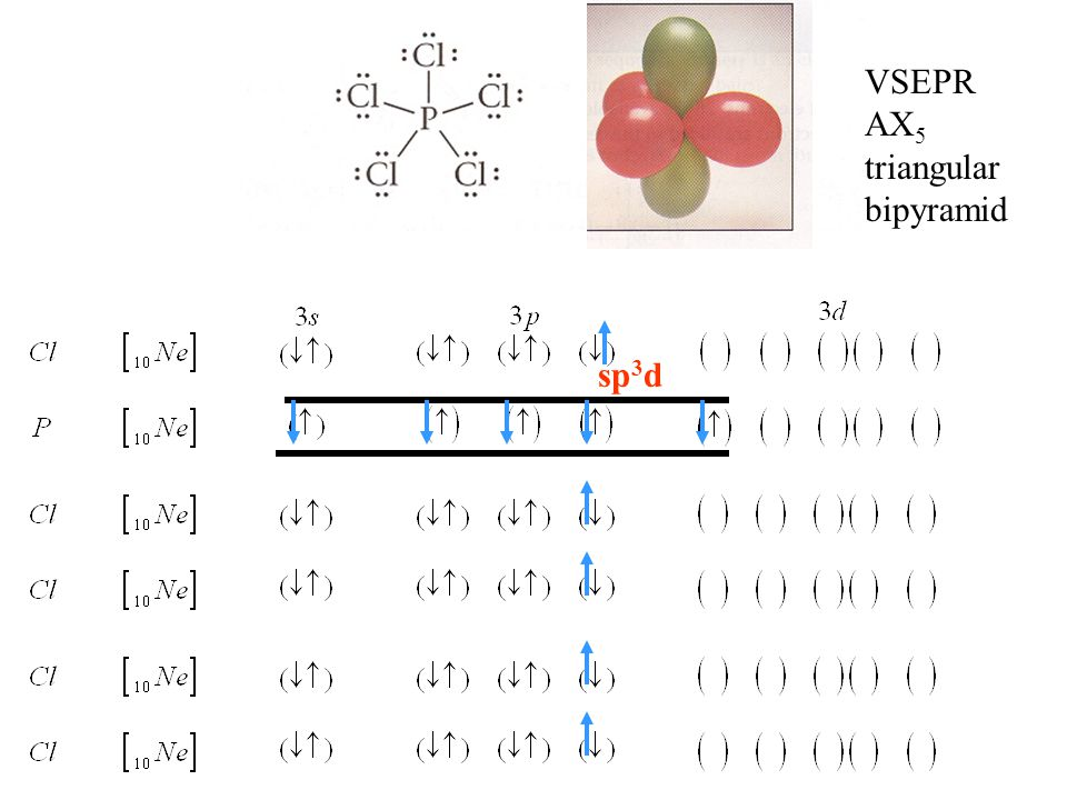 VSEPR AX 5 triangular bipyramid sp 3 d
