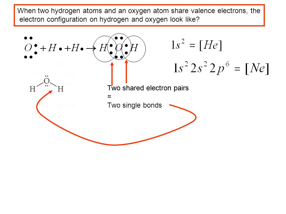 When two hydrogen atoms and an oxygen atom share valence electrons, the electron configuration on hydrogen and oxygen look like? Two shared electron p