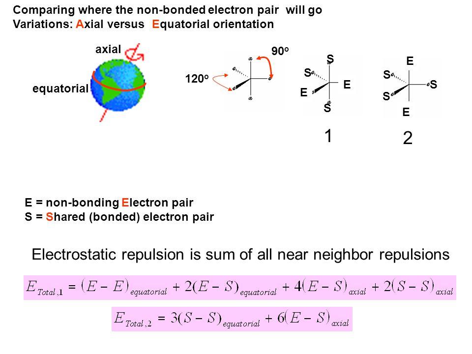E = non-bonding Electron pair S = Shared (bonded) electron pair Comparing where the non-bonded electron pair will go Variations: Axial versus Equatori
