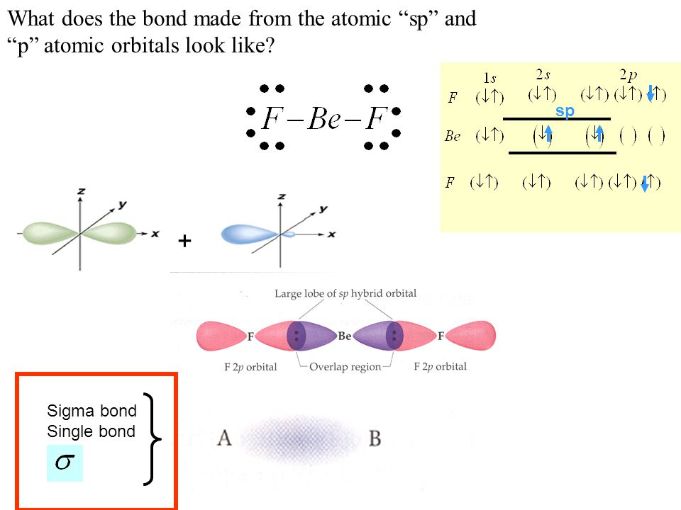 """sp What does the bond made from the atomic """"sp"""" and """"p"""" atomic orbitals look like? + Sigma bond Single bond"""