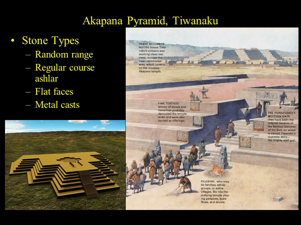 Akapana Pyramid, Tiwanaku Stone Types –Random range –Regular course ashlar –Flat faces –Metal casts