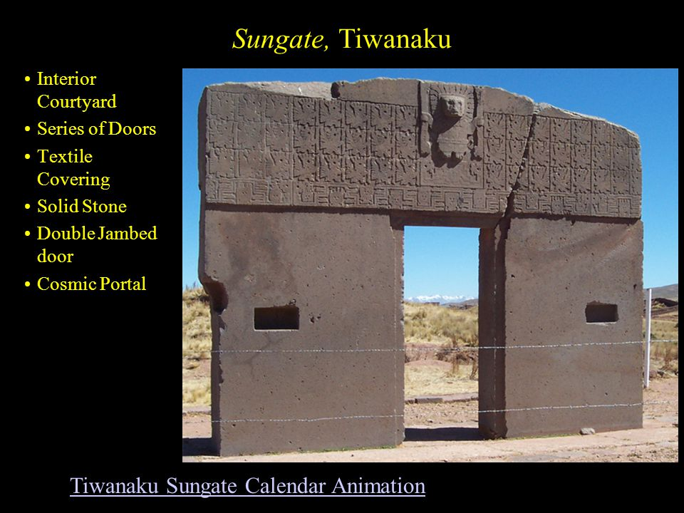 Sungate, Tiwanaku Interior Courtyard Series of Doors Textile Covering Solid Stone Double Jambed door Cosmic Portal Tiwanaku Sungate Calendar Animation