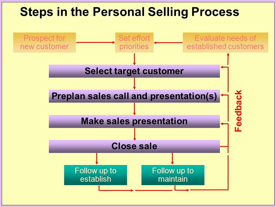 Evaluate needs of established customers Prospect for new customer Set effort priorities Select target customer Preplan sales call and presentation(s)