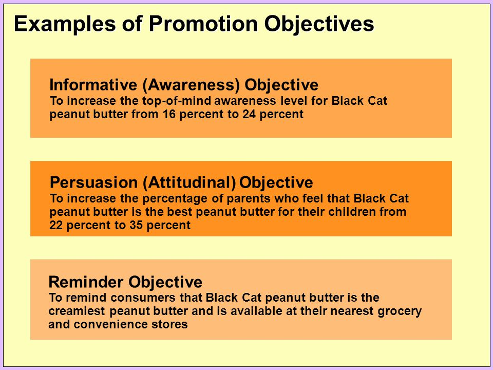 Examples of Promotion Objectives Reminder Objective To remind consumers that Black Cat peanut butter is the creamiest peanut butter and is available a