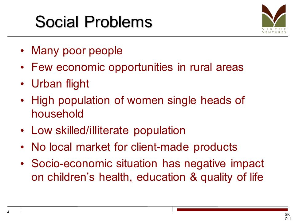 SK OLL CE NT RE FO R SO CIA L EN TR EP RE NE UR SHI P 4 Social Problems Many poor people Few economic opportunities in rural areas Urban flight High p