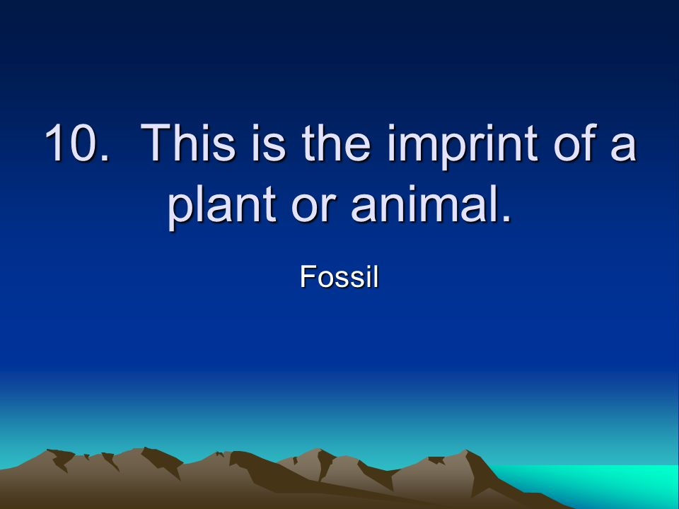 10. This is the imprint of a plant or animal. Fossil