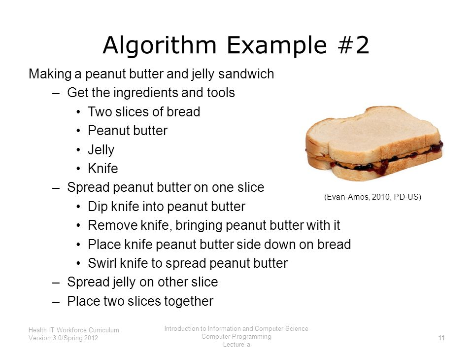 Algorithm Example #2 Making a peanut butter and jelly sandwich –Get the ingredients and tools Two slices of bread Peanut butter Jelly Knife –Spread peanut butter on one slice Dip knife into peanut butter Remove knife, bringing peanut butter with it Place knife peanut butter side down on bread Swirl knife to spread peanut butter –Spread jelly on other slice –Place two slices together 11 Health IT Workforce Curriculum Version 3.0/Spring 2012 Introduction to Information and Computer Science Computer Programming Lecture a (Evan-Amos, 2010, PD-US)