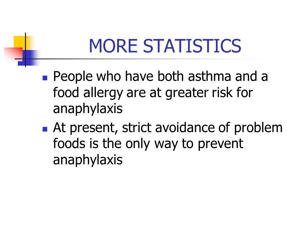 MORE STATISTICS People who have both asthma and a food allergy are at greater risk for anaphylaxis At present, strict avoidance of problem foods is the only way to prevent anaphylaxis