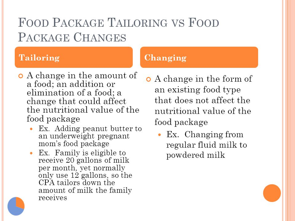 F OOD P ACKAGE T AILORING VS F OOD P ACKAGE C HANGES A change in the amount of a food; an addition or elimination of a food; a change that could affec