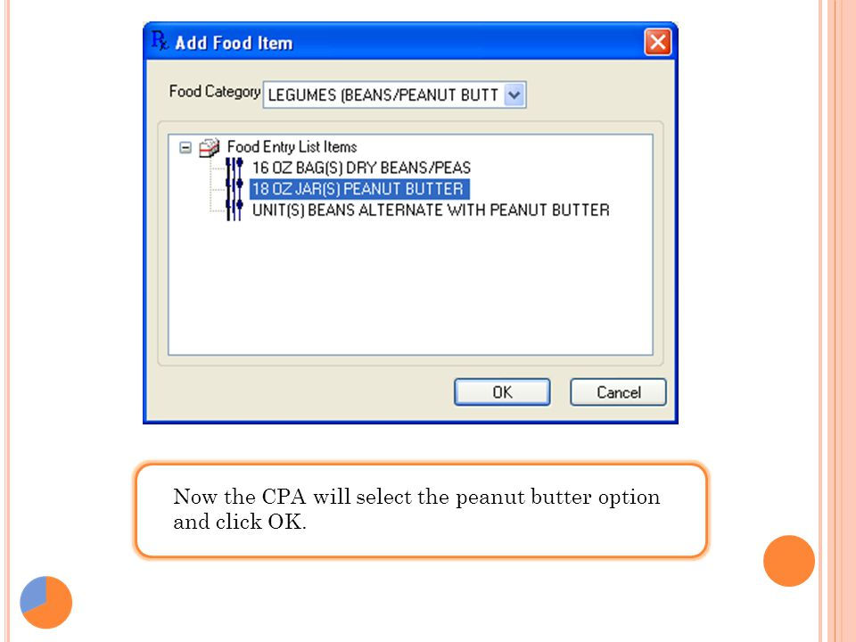 Now the CPA will select the peanut butter option and click OK.