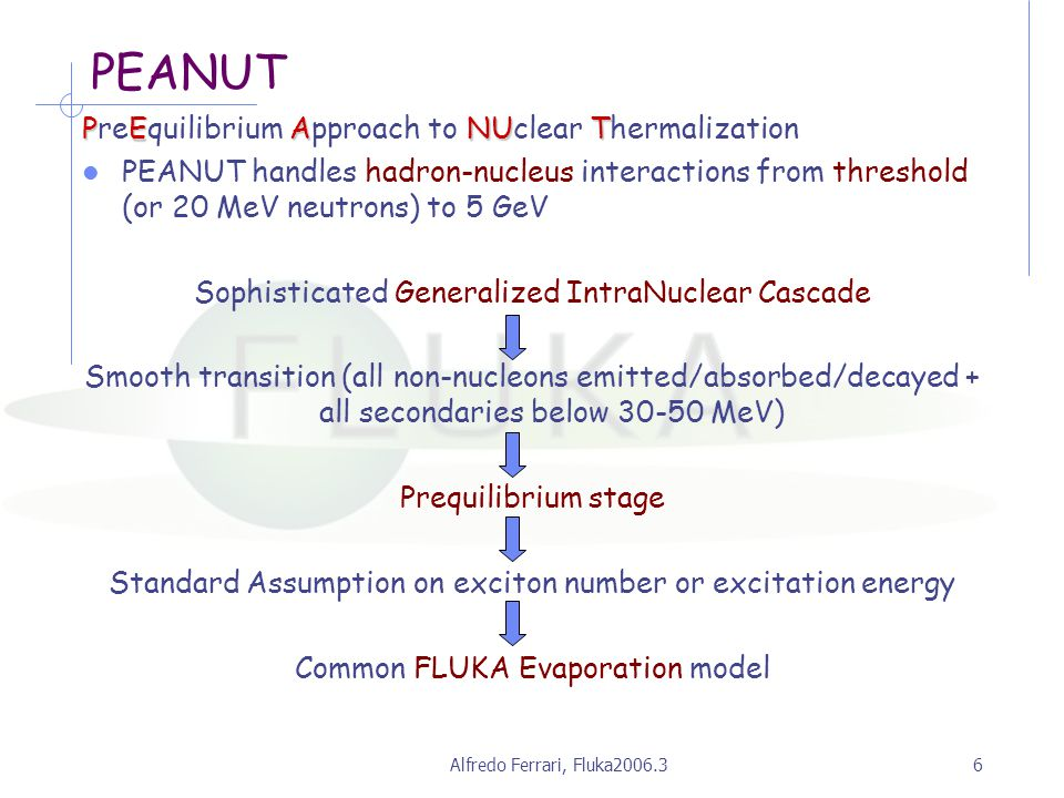 Alfredo Ferrari, Fluka2006.36 PEANUT PEANUT PreEquilibrium Approach to NUclear Thermalization PEANUT handles hadron-nucleus interactions from threshold (or 20 MeV neutrons) to 5 GeV Sophisticated Generalized IntraNuclear Cascade Smooth transition (all non-nucleons emitted/absorbed/decayed + all secondaries below 30-50 MeV) Prequilibrium stage Standard Assumption on exciton number or excitation energy Common FLUKA Evaporation model