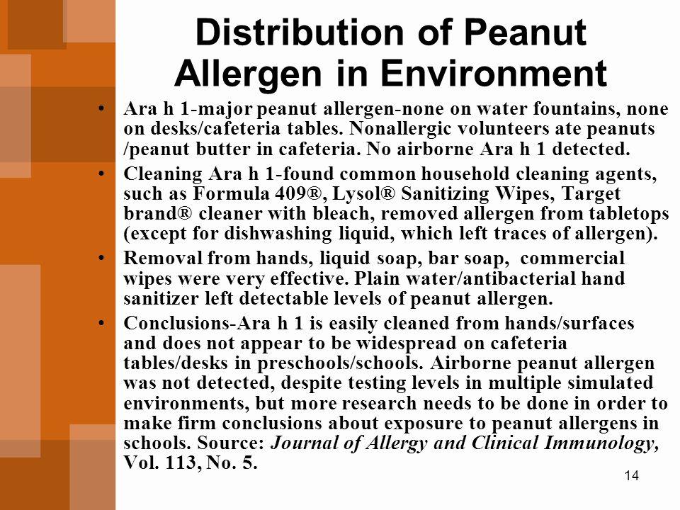 14 Distribution of Peanut Allergen in Environment Ara h 1-major peanut allergen-none on water fountains, none on desks/cafeteria tables.