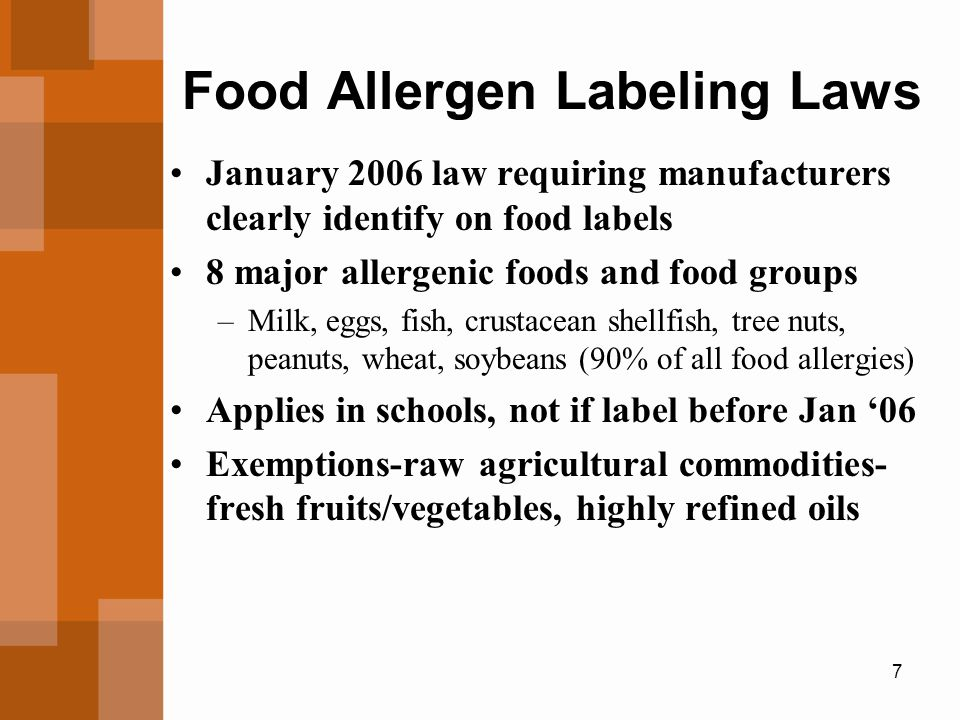 7 Food Allergen Labeling Laws January 2006 law requiring manufacturers clearly identify on food labels 8 major allergenic foods and food groups –Milk, eggs, fish, crustacean shellfish, tree nuts, peanuts, wheat, soybeans (90% of all food allergies) Applies in schools, not if label before Jan '06 Exemptions-raw agricultural commodities- fresh fruits/vegetables, highly refined oils