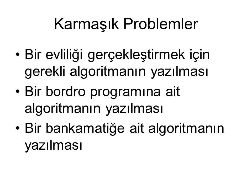 Karmaşık Problemler Bir evliliği gerçekleştirmek için gerekli algoritmanın yazılması Bir bordro programına ait algoritmanın yazılması Bir bankamatiğe ait algoritmanın yazılması