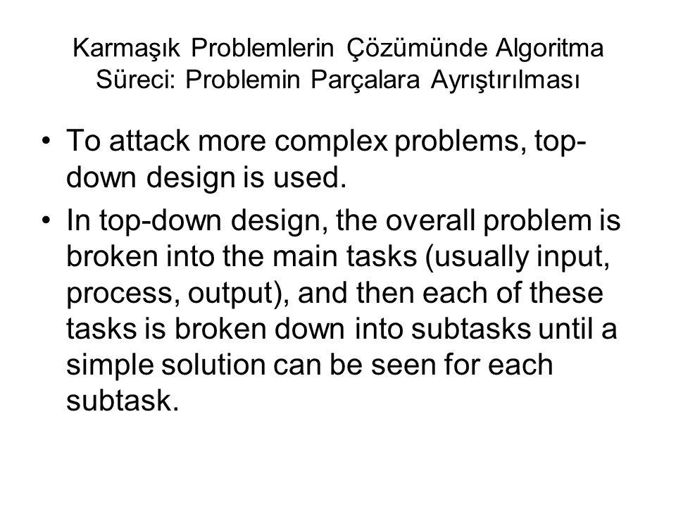 Karmaşık Problemlerin Çözümünde Algoritma Süreci: Problemin Parçalara Ayrıştırılması To attack more complex problems, top- down design is used. In top
