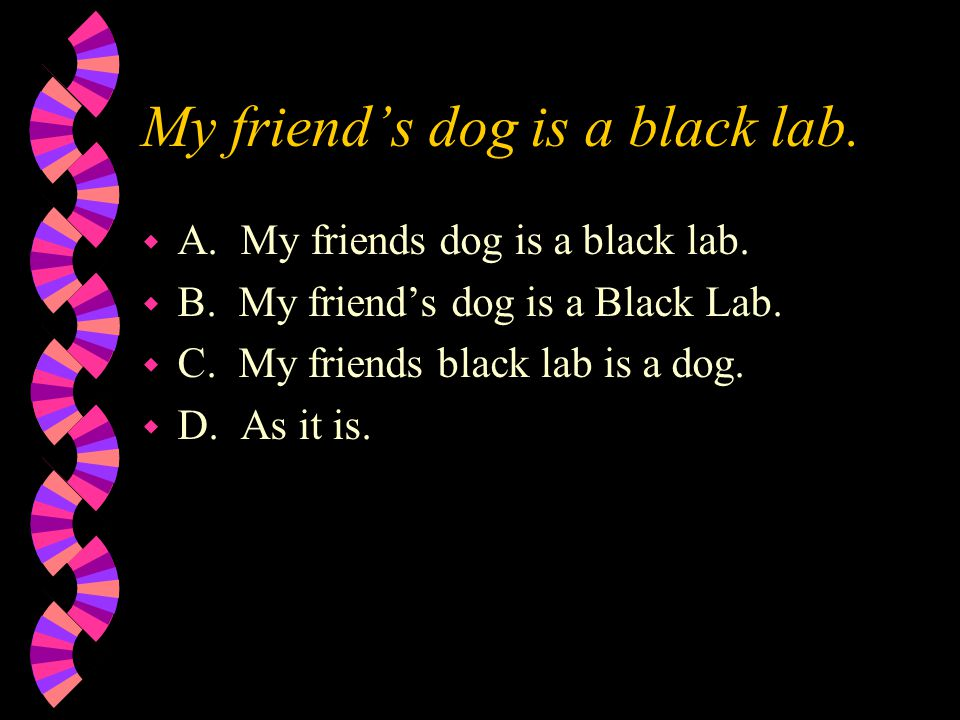 My friend's dog is a black lab. w A. My friends dog is a black lab.