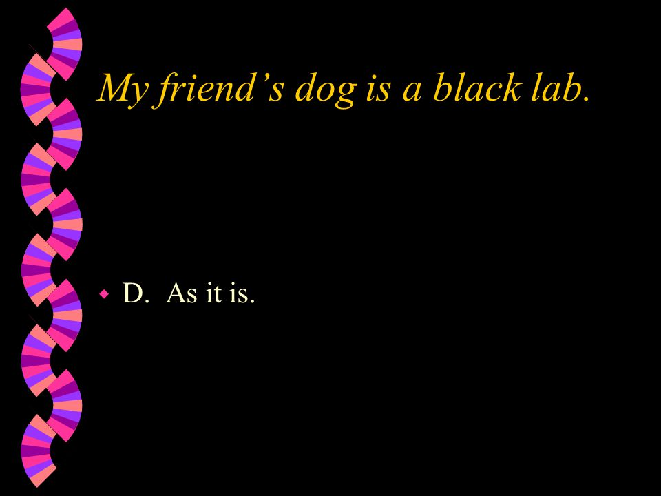 My friend's dog is a black lab. w D. As it is.