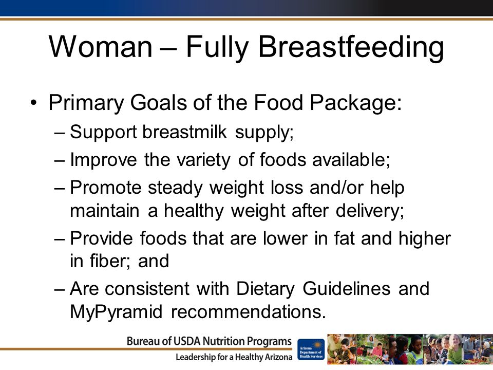 Woman – Fully Breastfeeding Primary Goals of the Food Package: –Support breastmilk supply; –Improve the variety of foods available; –Promote steady weight loss and/or help maintain a healthy weight after delivery; –Provide foods that are lower in fat and higher in fiber; and –Are consistent with Dietary Guidelines and MyPyramid recommendations.