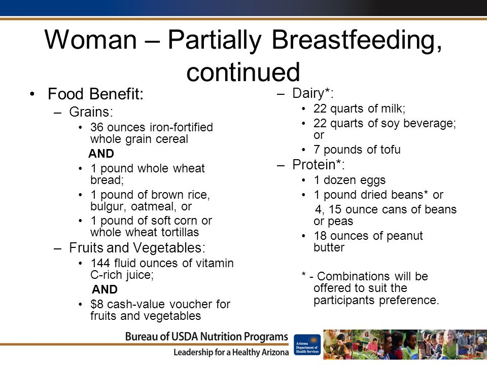 Woman – Partially Breastfeeding, continued Food Benefit: –Grains: 36 ounces iron-fortified whole grain cereal AND 1 pound whole wheat bread; 1 pound of brown rice, bulgur, oatmeal, or 1 pound of soft corn or whole wheat tortillas –Fruits and Vegetables: 144 fluid ounces of vitamin C-rich juice; AND $8 cash-value voucher for fruits and vegetables –Dairy*: 22 quarts of milk; 22 quarts of soy beverage; or 7 pounds of tofu –Protein*: 1 dozen eggs 1 pound dried beans* or 4, 15 ounce cans of beans or peas 18 ounces of peanut butter * - Combinations will be offered to suit the participants preference.