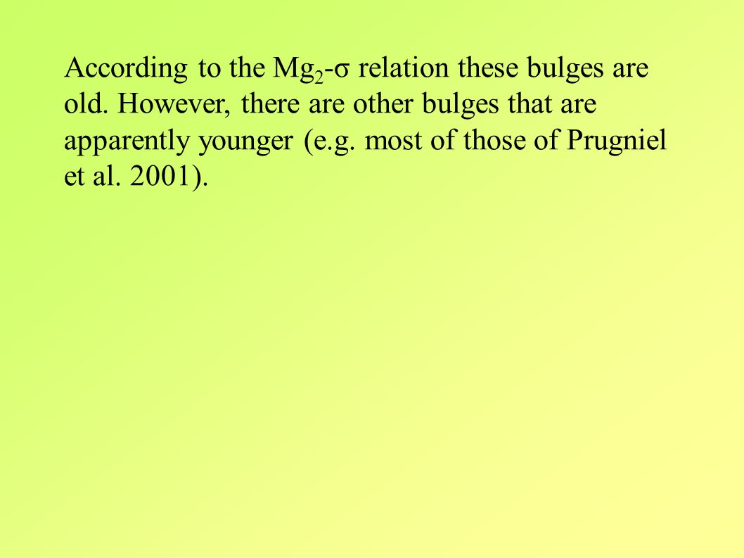 According to the Mg 2 -σ relation these bulges are old.
