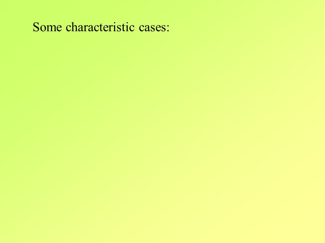 Some characteristic cases: