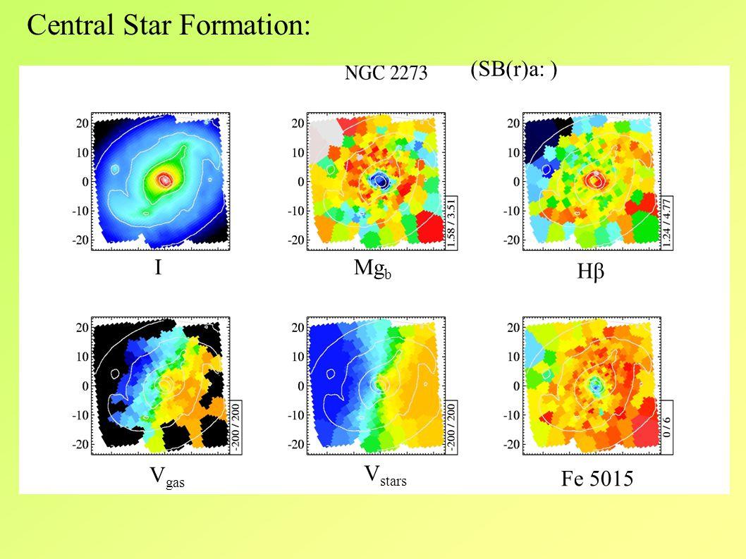 IMg b HβHβ V gas V stars Fe 5015 Central Star Formation: (SB(r)a: )