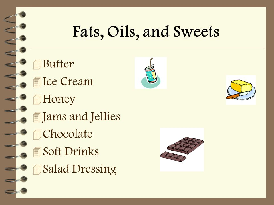 Fats, Oils, and Sweets 4 Butter 4 Ice Cream 4 Honey 4 Jams and Jellies 4 Chocolate 4 Soft Drinks  Salad Dressing