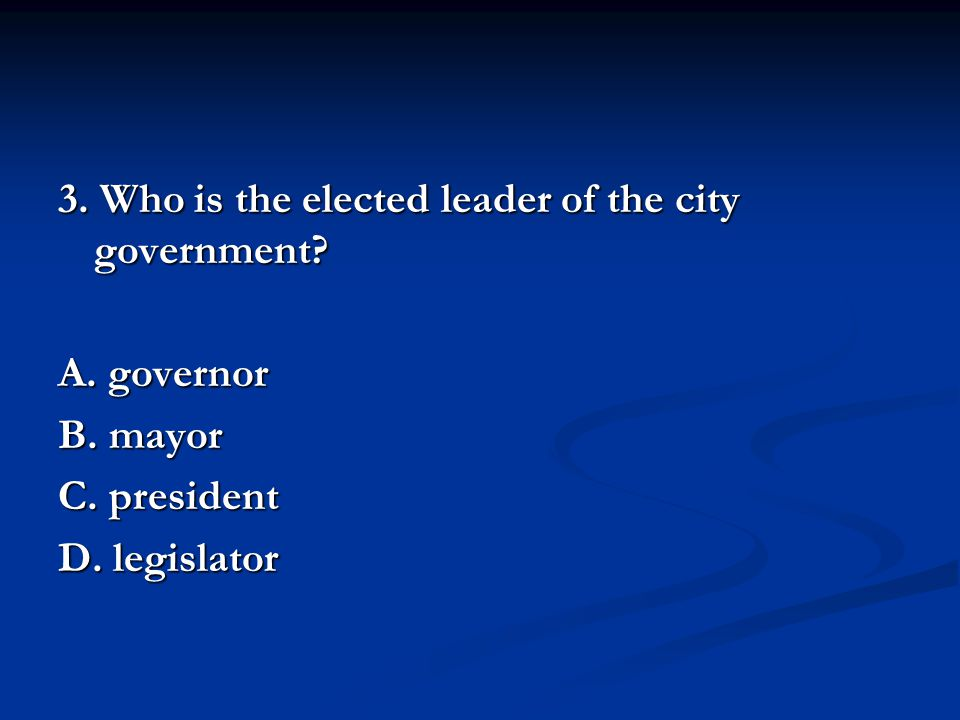 3. Who is the elected leader of the city government.