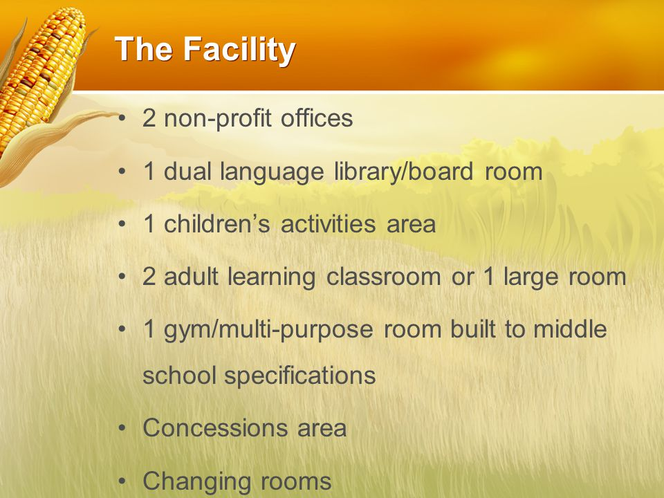 The Facility 2 non-profit offices 1 dual language library/board room 1 children's activities area 2 adult learning classroom or 1 large room 1 gym/multi-purpose room built to middle school specifications Concessions area Changing rooms