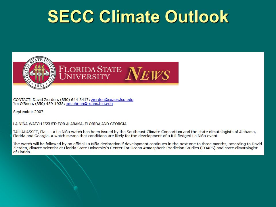 SECC Climate Outlook