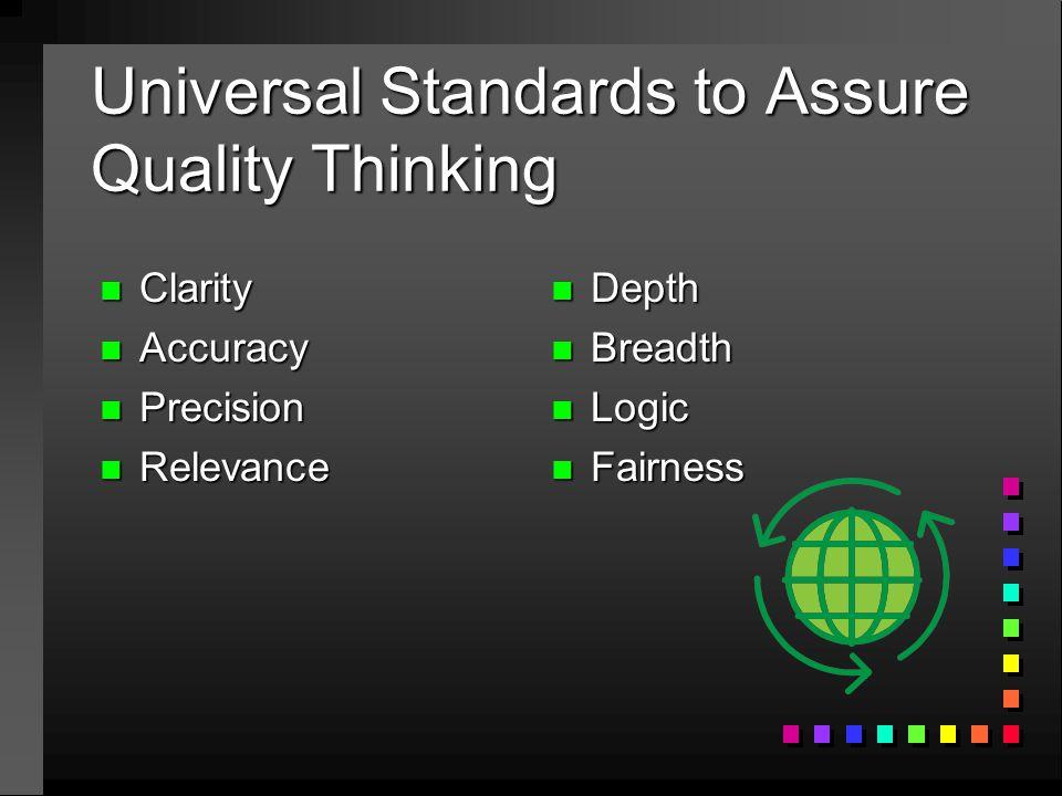 Universal Standards to Assure Quality Thinking n Clarity n Accuracy n Precision n Relevance n Depth n Breadth n Logic n Fairness