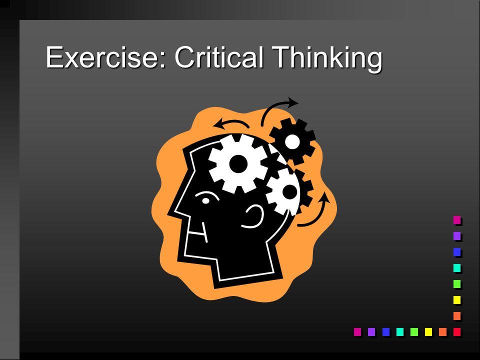 Exercise: Critical Thinking