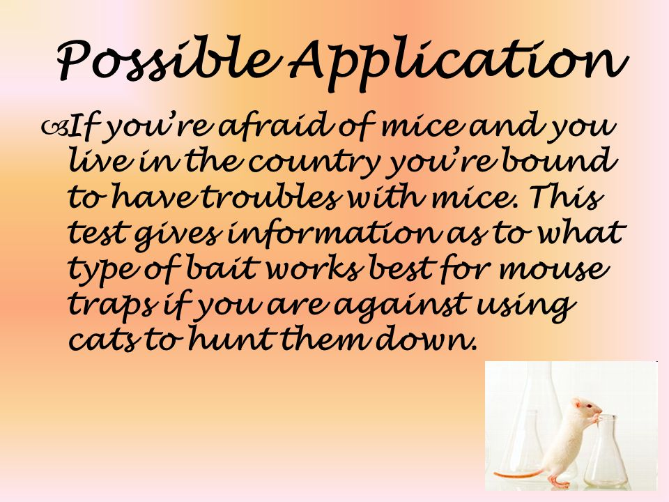 Possible Application  If you're afraid of mice and you live in the country you're bound to have troubles with mice.