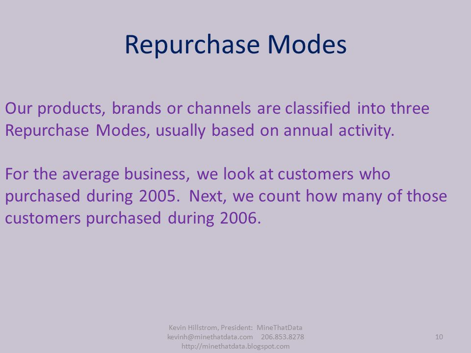 Repurchase Modes Kevin Hillstrom, President: MineThatData kevinh@minethatdata.com 206.853.8278 http://minethatdata.blogspot.com 10 Our products, brands or channels are classified into three Repurchase Modes, usually based on annual activity.