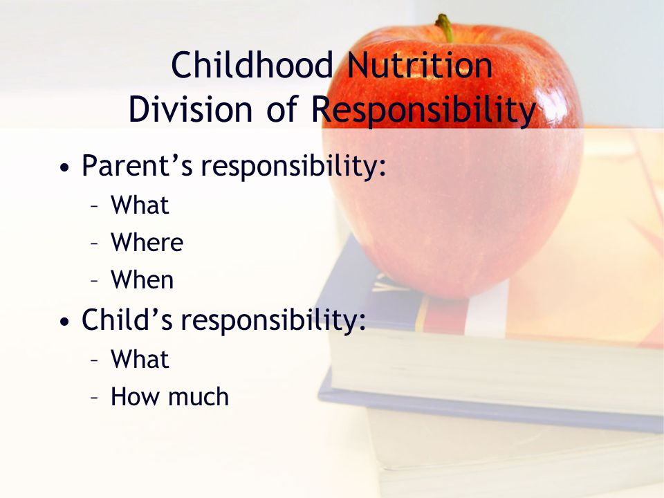 Childhood Nutrition Division of Responsibility Parent's responsibility: –What –Where –When Child's responsibility: –What –How much
