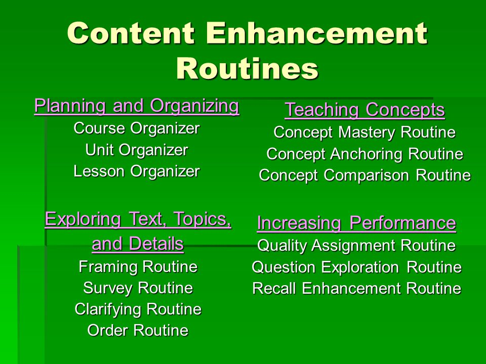 Content Enhancement Routines Planning and Organizing Course Organizer Unit Organizer Lesson Organizer Teaching Concepts Concept Mastery Routine Concept Anchoring Routine Concept Comparison Routine Exploring Text, Topics, and Details Framing Routine LINCing Routine Survey Routine Clarifying Routine Order Routine Increasing Performance Quality Assignment Routine Question Exploration Routine Recall Enhancement Routine